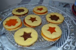 Sablés confiture d'abricot, pâte à tartiner et caramel