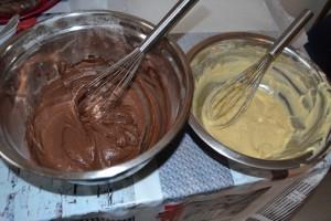 Pâte cacao et pâte vanille