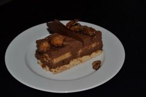 Part gâteau chocolat, caramel , fleur de sel