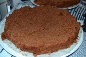 Base du gâteau sur un plat