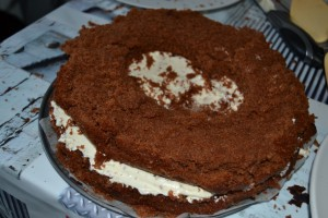 2ème dessous du gâteau, troué, poser sur la ganache