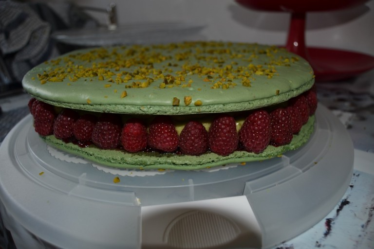 macaron pistache/framboises