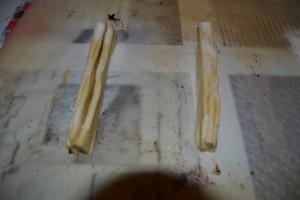 bandelettes coupé droit et saupoudrer de sucre semoule