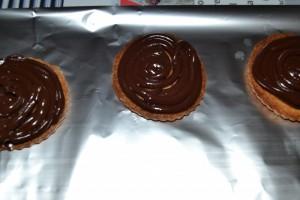 pochage de la ganache chocolat