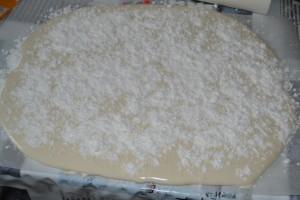 guimauve saupoudrer de sucre glace et fecule