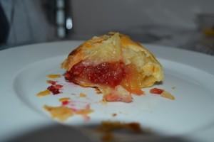 intérieur du chausson pommes cœur framboise