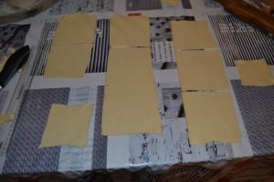 bandes de pâte couper en carrés