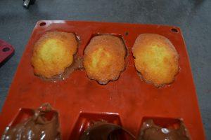 madeleines sur chocolat fondu