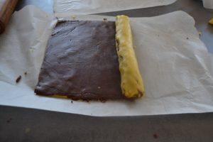 rectangles de pâtes roulés