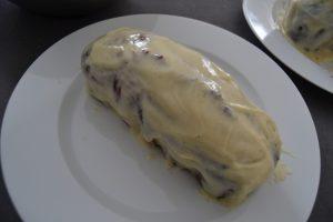 cake recouvert de ganache chocolat blanc