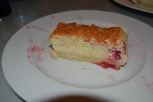 gâteau magique vanille - framboises