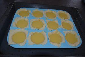 préparation verser sur la pâte feuilletée