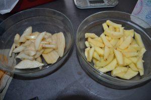 pommes poires coupe en lamelles