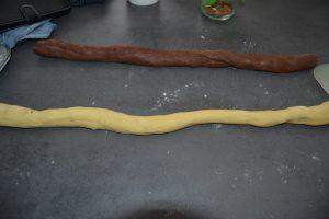 boudins de pâte vanille et chocolat