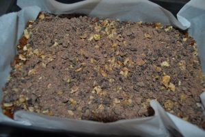 chocolat haché parsemer sur les noix