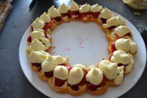 fruits recouvert de crème diplomate