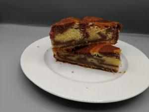 gâteau marbré framboises