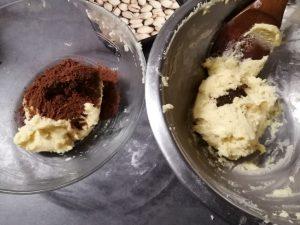 vanille ajouter et cacao dans l'autre pâte