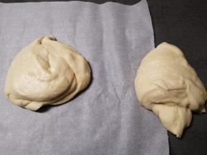 pâte coupée en 2 morceaux