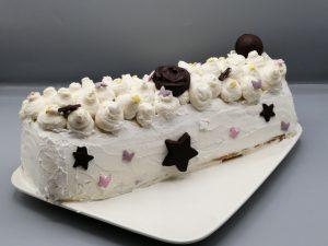 bûche vanille- caramel et cacahuète