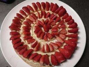 fraises poser sur la crème mousseline
